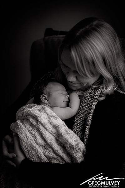 Naperville newborn photographer mother with baby portrait